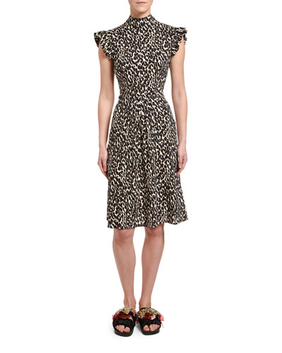 Bon Ton Animal-Print Flutter-Sleeve Dress