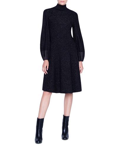 Shimmer Wool-Crepe Blouson Sleeve Dress