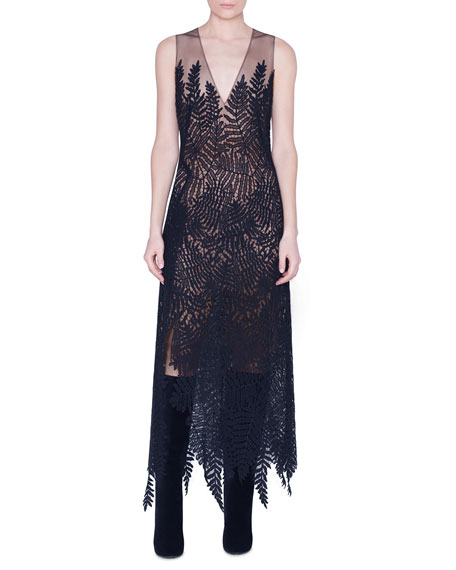 Akris Fern Embroidered Wool Dress