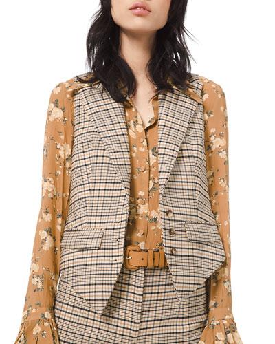 Plaid Stretch Wool Vest