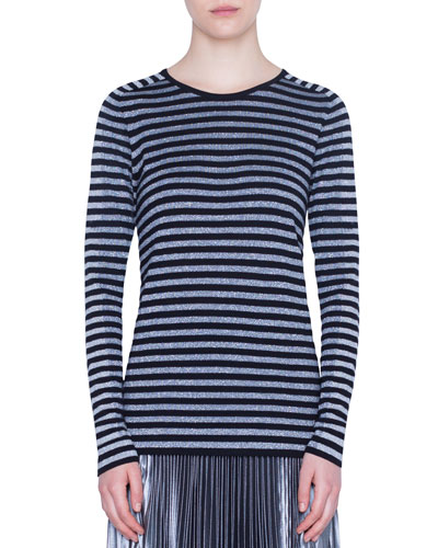Shimmered Striped Sweater