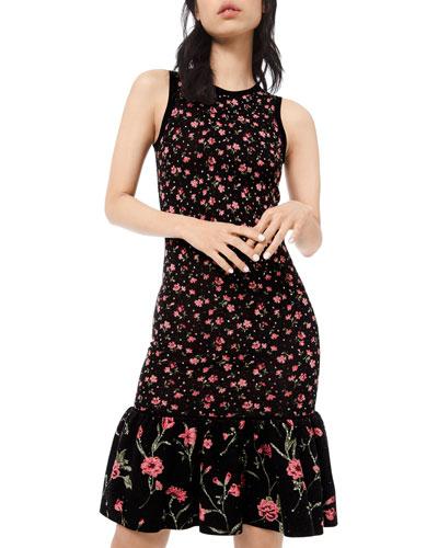 Embellished Floral-Print Jersey Flounce Dress