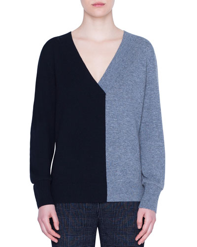 Wool-Cashmere Two-Tone V-Neck Sweater