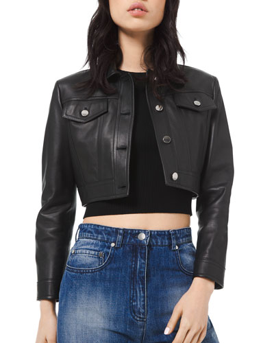 d3853940a280 Quick Look. Michael Kors Collection · Cropped Leather Jacket