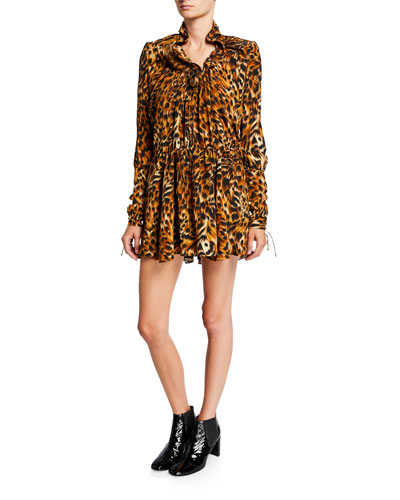 Animal-Print Full Sleeve Mini Dress