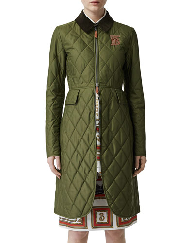 Midi-Length Equestrian Quilted Coat