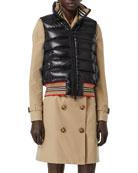 Burberry Icon Stripe-Detail Down Puffer Vest, Black