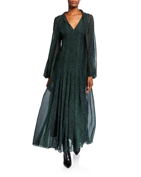 Akris Python-Print Silk Tie-Neck Floaty Dress