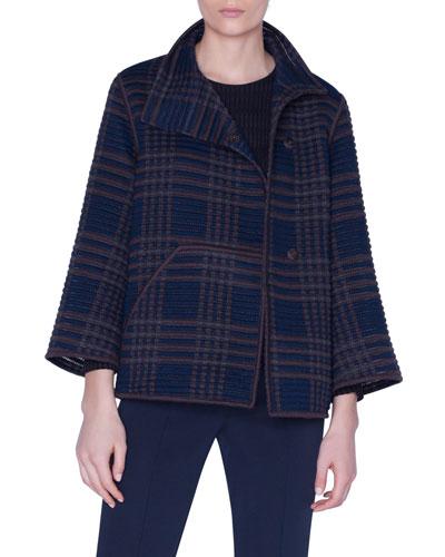 St. Gallen Embroidered Wool-Silk Short Jacket