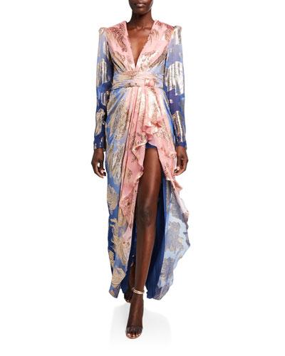 Typhoon Ombre Silk Long-Sleeve Dress