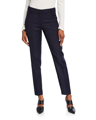Wool Crepe Slim Leg Flat Front Pants