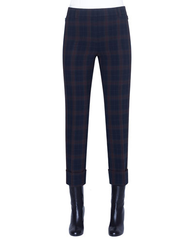 Plaid Flat-Front Cuffed Pants