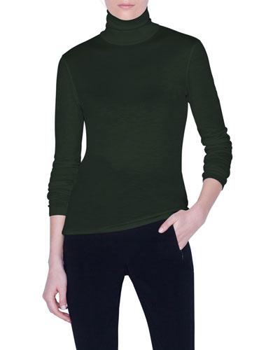 Cashmere-Silk Rolled Turtleneck Sweater
