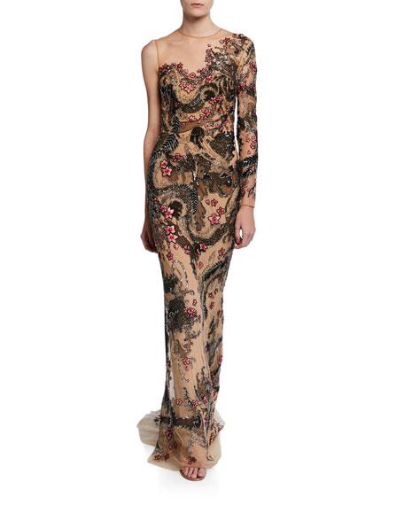Zuhair Murad Yuki Tattoo Embroidered One-Sleeve Dress