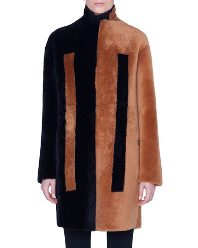 Two-Tone Shearling Knee Length Coat