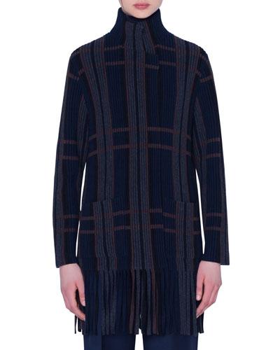 Cashmere Silk Fringe-Trim Open-Front Cardigan