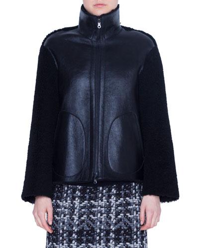 Lamb Fur Stand-Collar Jacket
