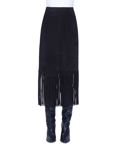 Fring-Trim Suede Skirt