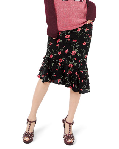 Stemmed Floral Crepe de Chine Rumba Skirt