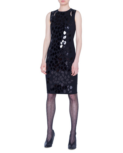 Animal-Print Sequined Jersey Dress
