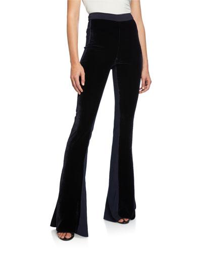 High-Rise Velvet Flare Pants