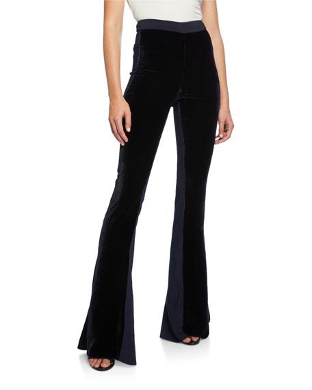 CUSHNIE High-Rise Velvet Flare Pants