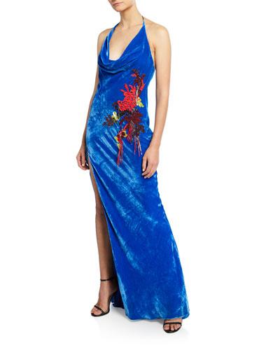 Embroidered Velvet Halter Neck Gown