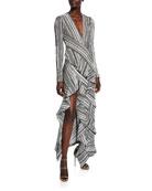 Galvan Taja Printed Jersey Long-Sleeve Dress