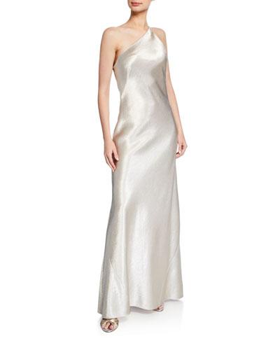 Roxy Metallic Satin One-Shoulder Gown