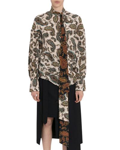 Paisley Silk Tie-Neck Blouse