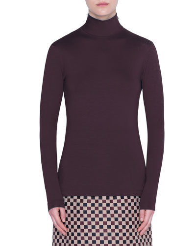 Jersey Turtleneck Long-Sleeve Top