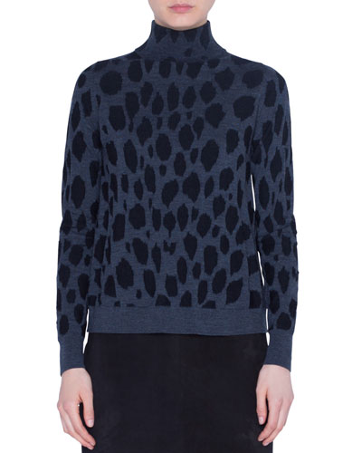 Animal-Dot Print Wool Sweater