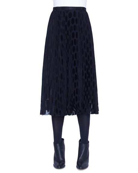 Akris punto Polka-Dot Devore Plisse Midi Skirt