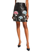 Carolina Herrera Floral-Embroidered A-Line Leather Skirt