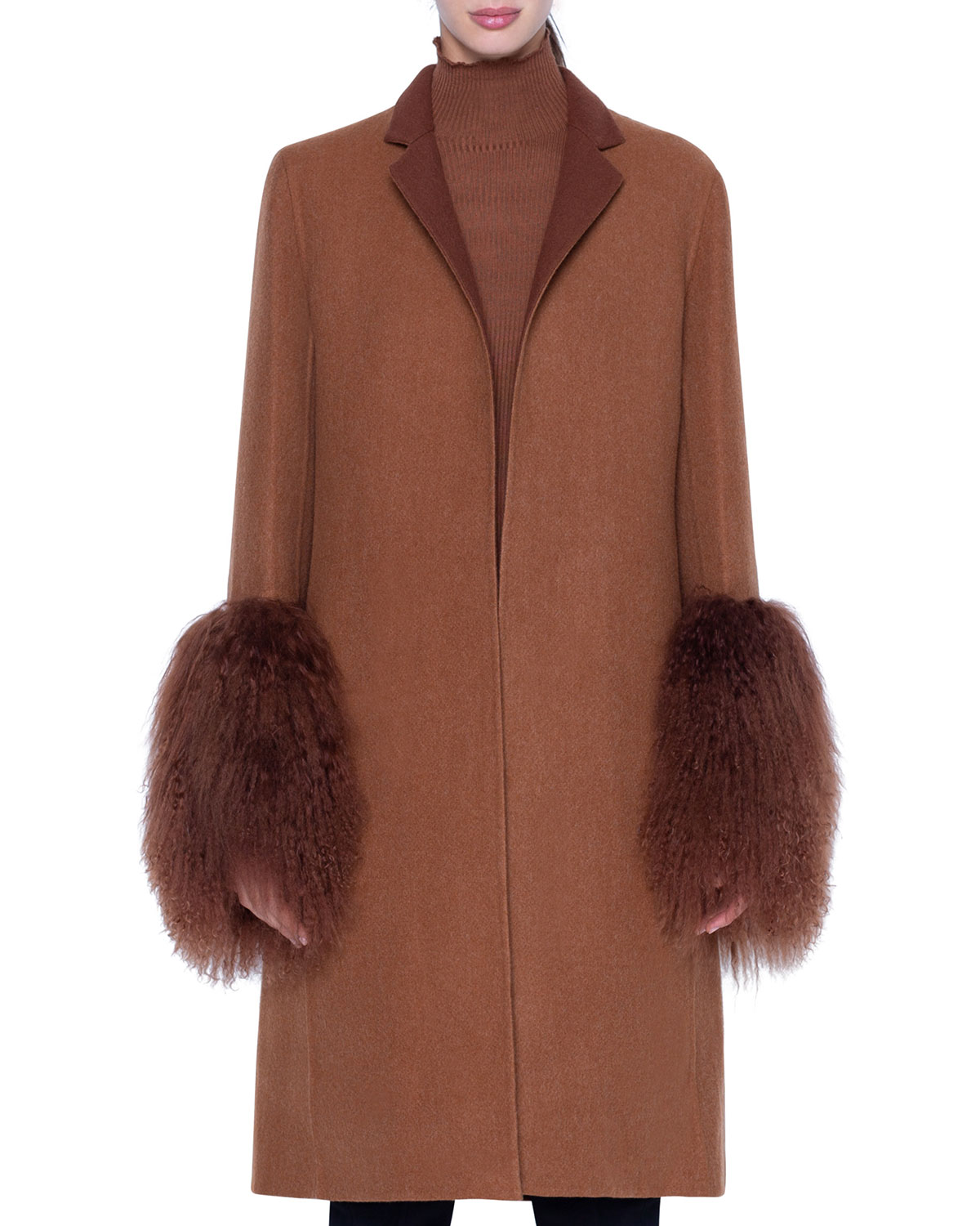Akris Coats CASHMERE COAT WITH SHEARLING CUFFS