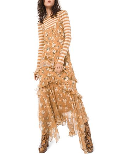 Asymmetric Ruffled Slip Dress