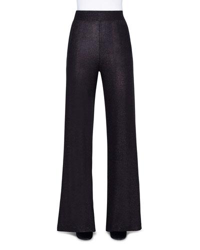 Shimmer Silk Wide-Leg Pants