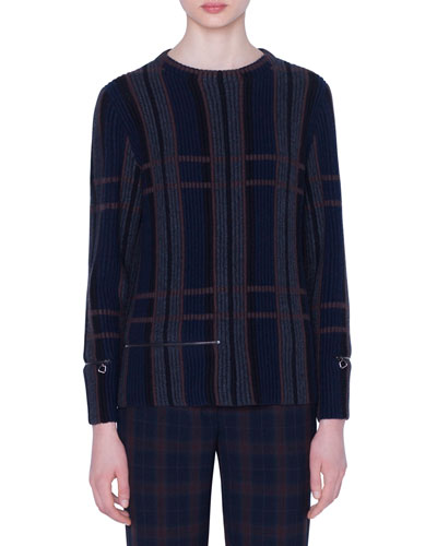 Cashmere-Silk Plaid Ribbed Knit Sweater