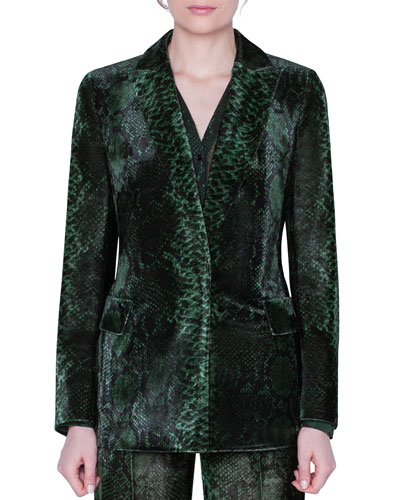 Python-Print Velvet Jacket