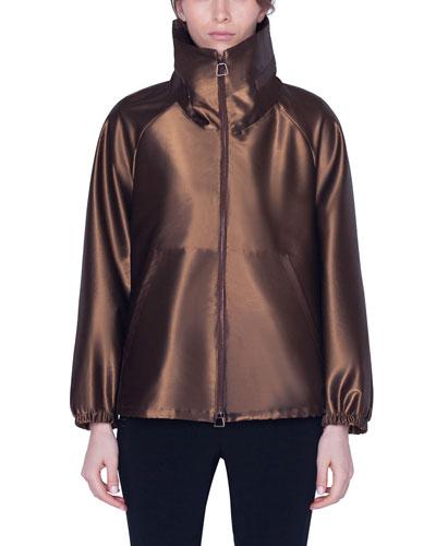 Short Water-Repellent Metallic Parka Coat