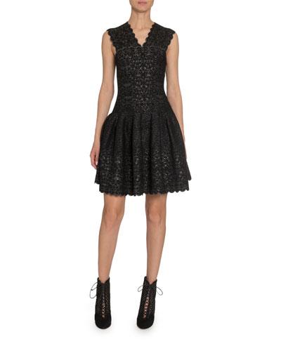 Metallic Lace V-Neck Dress