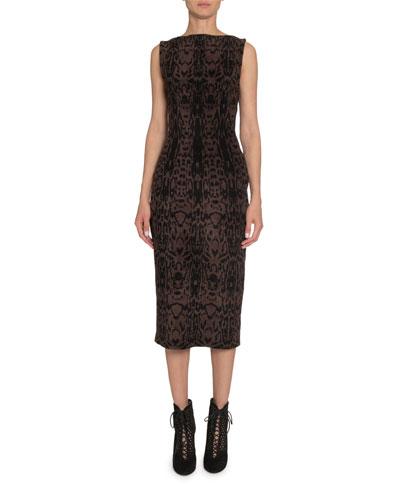 Animal-Print Sleeveless Velvet Midi Dress