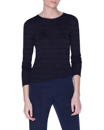 Plaid Ribbed-Silk Sweater