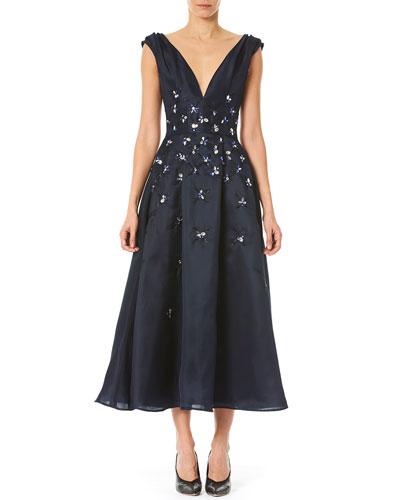 Embroidered-Waist Taffeta Dress
