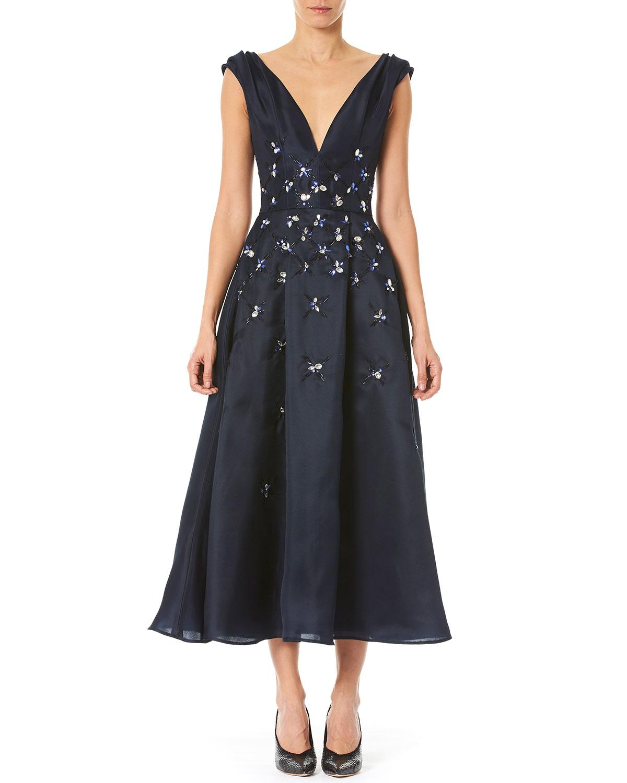 Carolina Herrera Dresses EMBROIDERED-WAIST TAFFETA DRESS