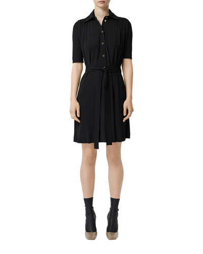 1/2-Sleeve Jersey Shirtdress