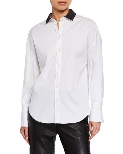 Beaded Collar Button-Front Shirt