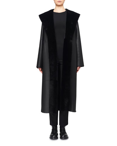 Riona Shearling-Lined Hooded Coat
