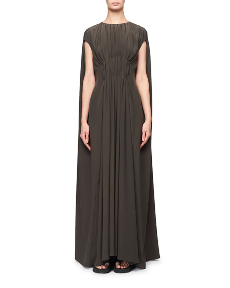 THE ROW Antonia Ruched Compact Crepe Cape Gown