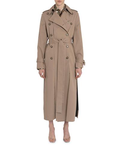 Slit-Paneled Gabardine Trench Coat